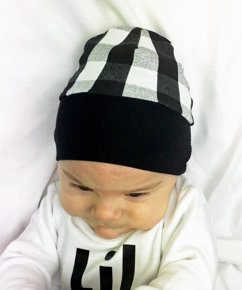 Black and white buffalo plaid beanie hat - The Speckled Giraffe 27eae627ae2